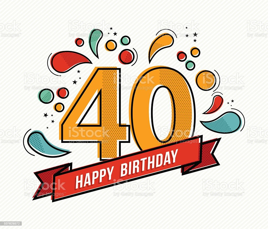 colorful happy birthday number 40 flat line design stock
