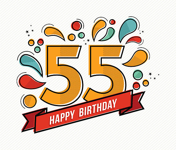 bildbanksillustrationer, clip art samt tecknat material och ikoner med colorful happy birthday number 55 flat line design - 55 59 år