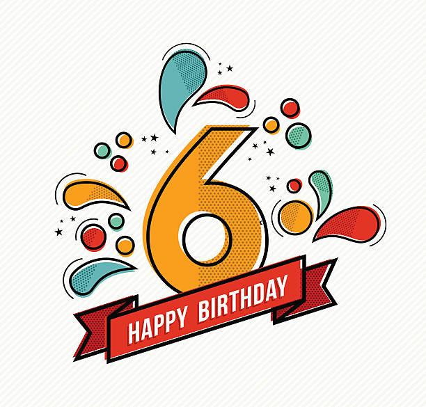 stockillustraties, clipart, cartoons en iconen met colorful happy birthday number 6 flat line design - 6 7 jaar