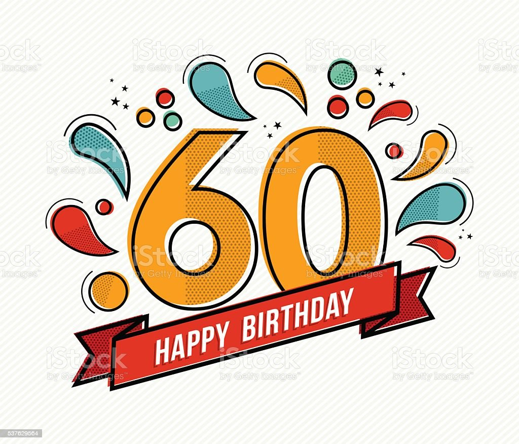 Colorful happy birthday number 60 flat line design vector art illustration