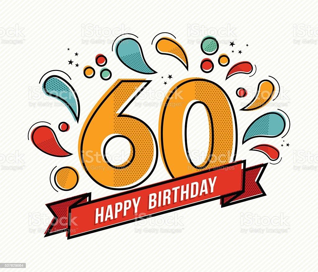 Numero colorato buon compleanno di 60 linea design piatto - illustrazione arte vettoriale