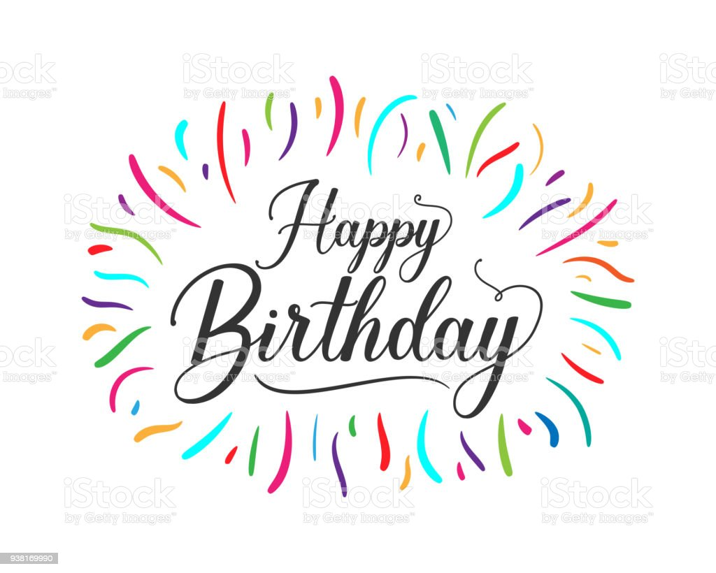 Colorful Happy Birthday Typographic Design For Poster Banner Graphic