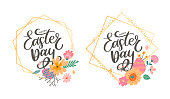 Colorful Happy Easter greeting card with flowers eggs and rabbit elements composition. EPS10 vector file organized in layers for easy editing