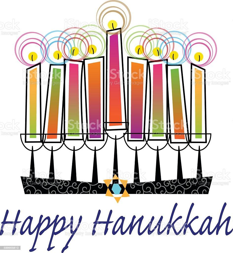 Colorful Happy Hanukkah vector art illustration