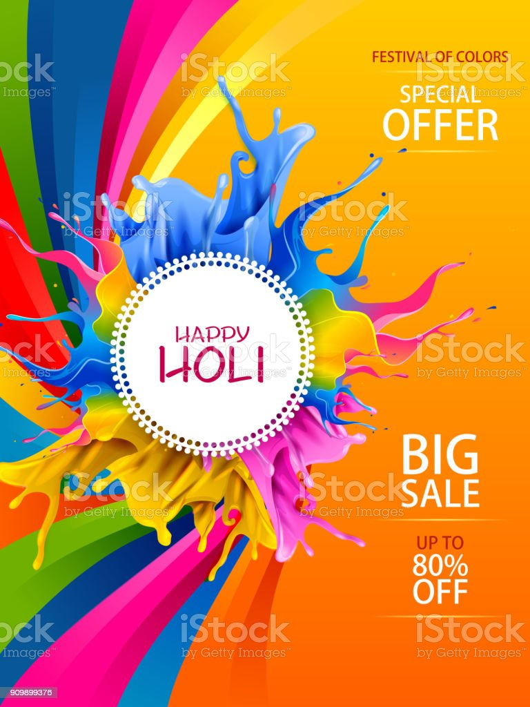 Colorful Happy Hoil Sale Promotion Shopping Advertisement Background For Festival Of Colors In India Royalty