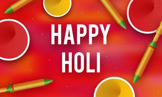 colorful Happy Holi Background stock illustration