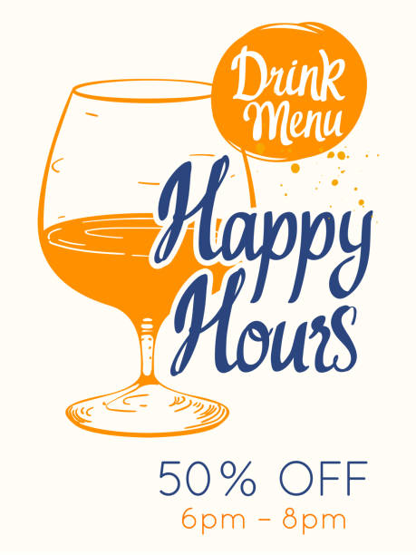 colorful happy hour signs background. vector illustration - happy hour stock illustrations, clip art, cartoons, & icons