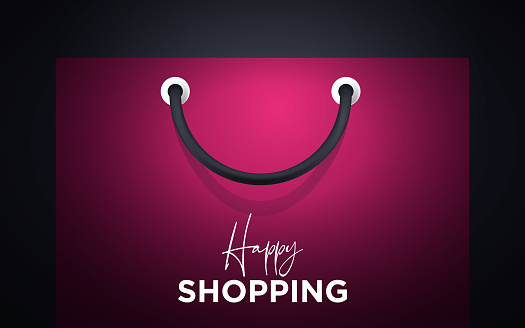 Colorful happy paper shopping bag handle