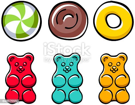 Colorful hard candies and gummy bears set. Peppermint candy, jelly bear and toffee - hand drawn doodle sketch style.