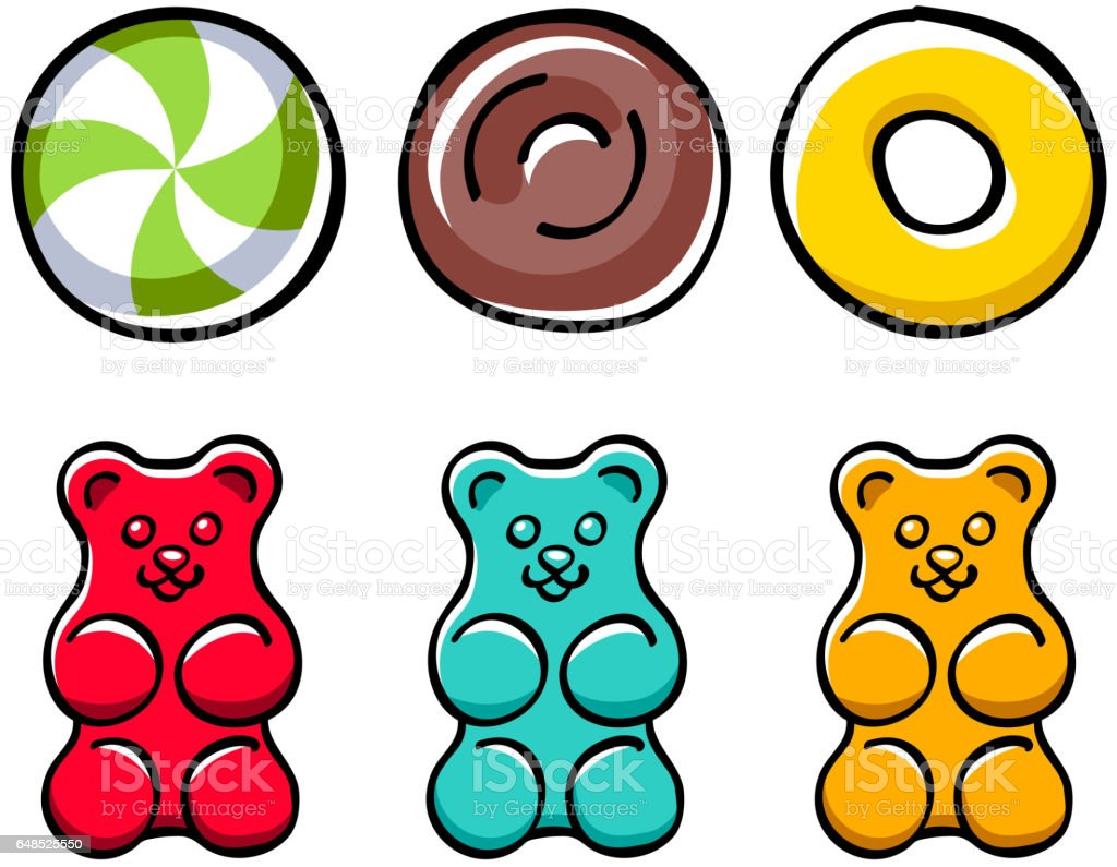Colorful hard candies and gummy bears set vector art illustration