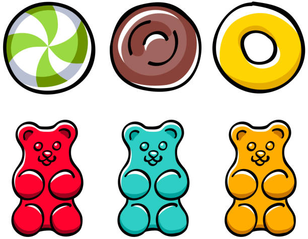 Colorful hard candies and gummy bears set Colorful hard candies and gummy bears set. Peppermint candy, jelly bear and toffee - hand drawn doodle sketch style. jello stock illustrations