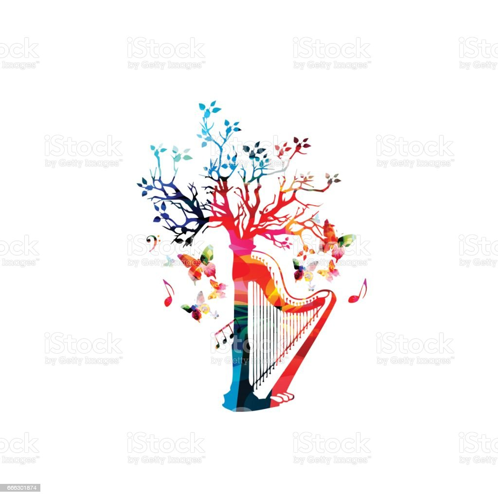 Colorful harp with treetop vector art illustration