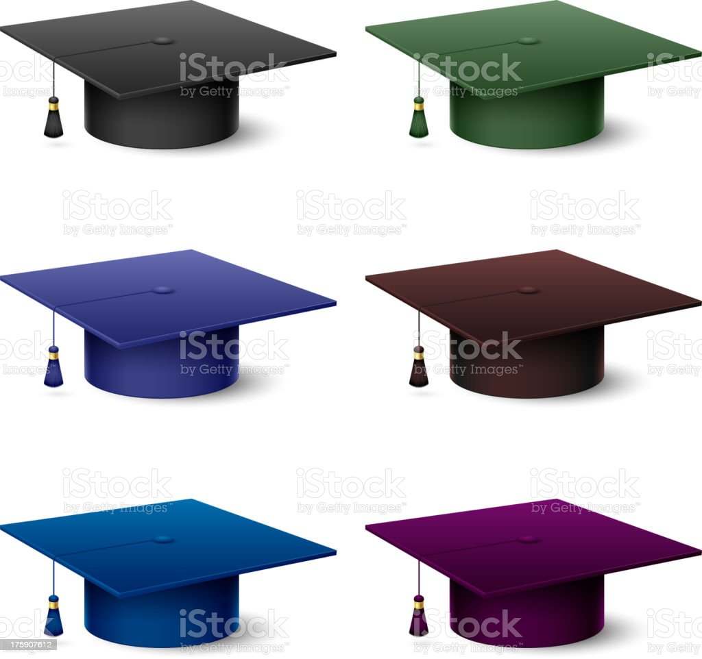 Colorful hats graduate royalty-free stock vector art