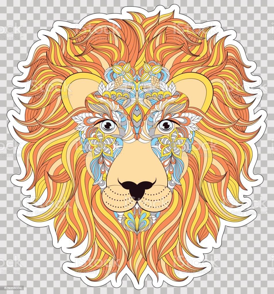 ライオンのカラフルな頭 ベクターアートイラスト