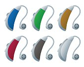 Colorful hearing aids, vector illustration