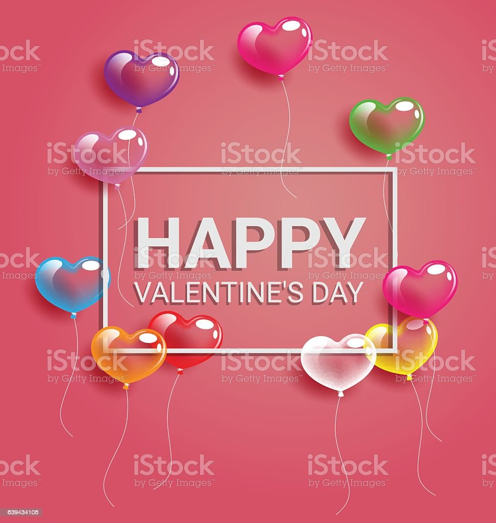 Colorful Heart Balloons And Happy Valentine Day Text Stock Vector ...