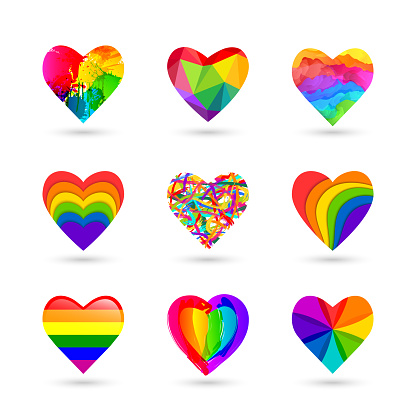 Colorful heart icon set