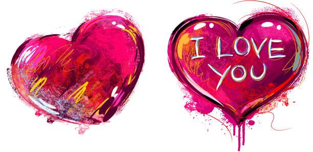 illustrazioni stock, clip art, cartoni animati e icone di tendenza di cuore colorato isolato su bianco - love word