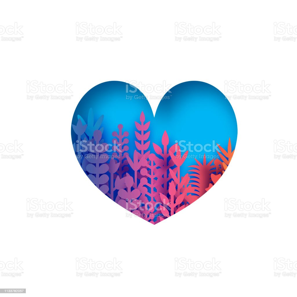 Colorful heart with paper cut flowers and leaves. Love shape with...
