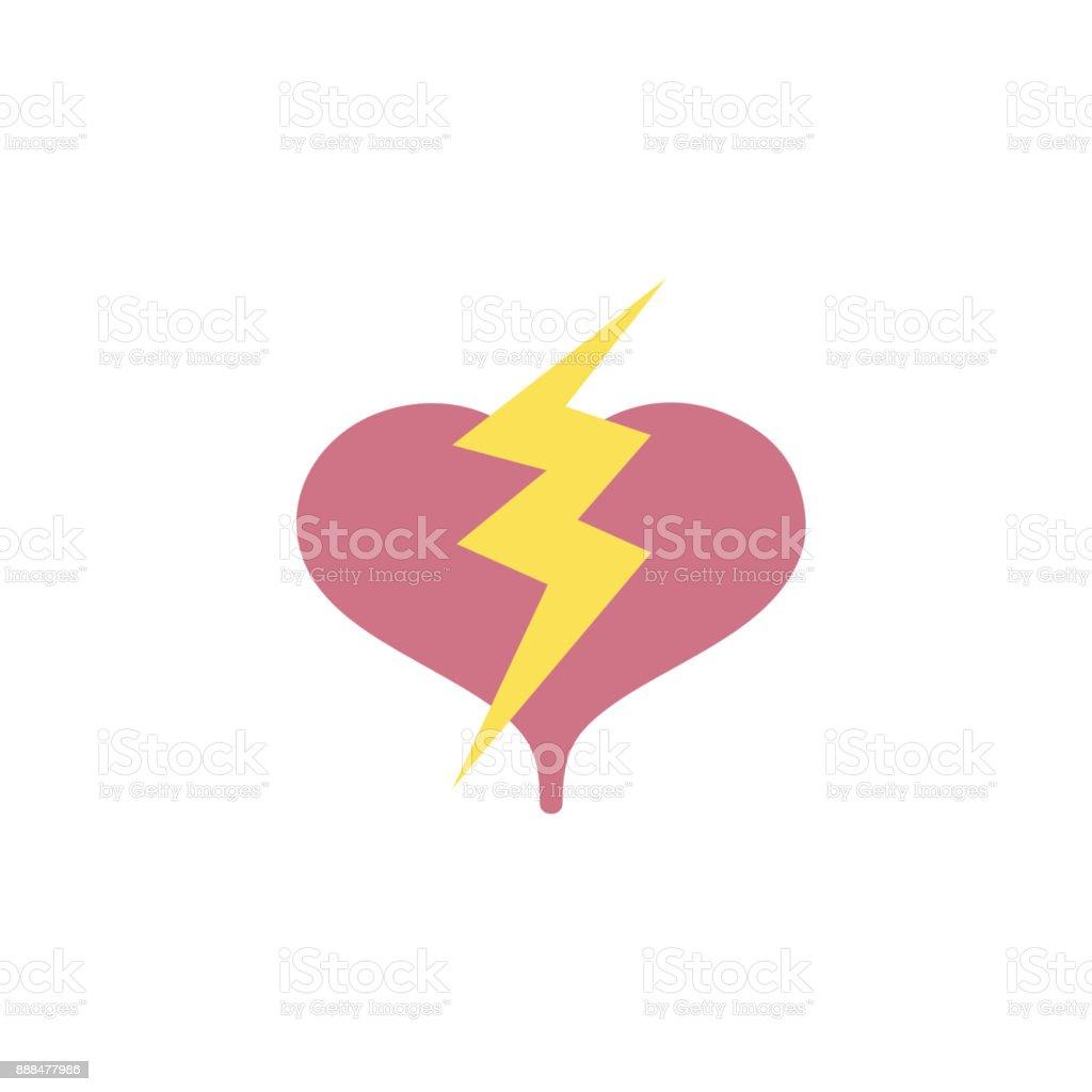 Colorful Heart With Thunder Symbol Lobe Design Stock Vector Art