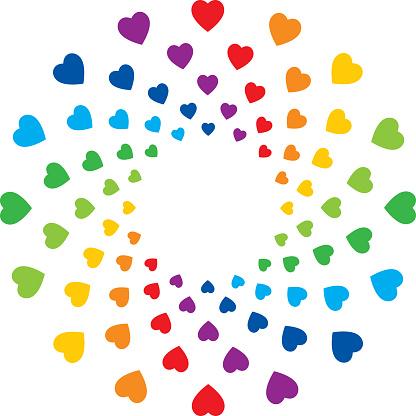 Colorful Hearts Circle Frame