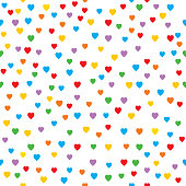 Vector illustration of colorful little hearts of a white background.