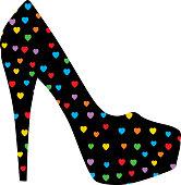 Colorful Hearts Stiletto Shoe
