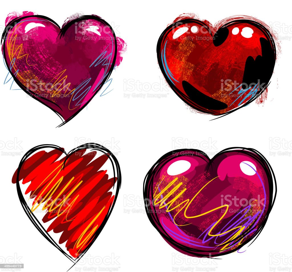 Colorful Hearts royalty-free stock vector art