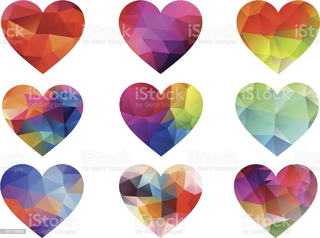 colorful hearts with geometric pattern, vector royalty-free colorful hearts with geometric pattern vector stock vector art & more images of abstract