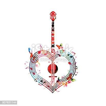 Colorful heart-shaped banjo design