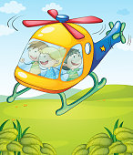 Colorful helicopter with happy kids