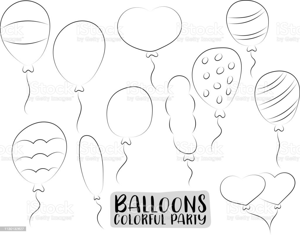 Ensemble De Ballons Hélium Coloré Des Icônes Et Des Objets