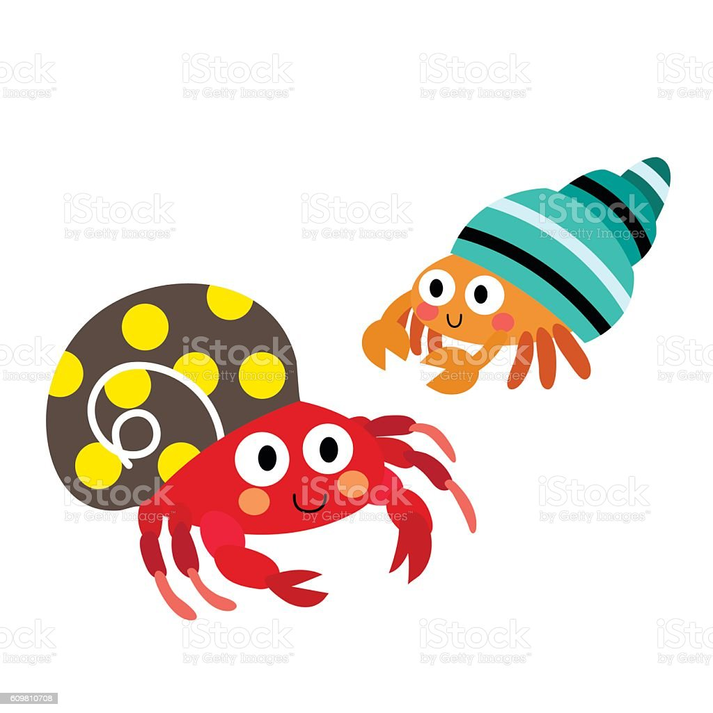 Colorful Hermit Crab Animal Cartoon Character Vector ... Hermit Crab Art