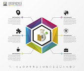 Colorful hexagon. Infographic business concept. Vector illustration