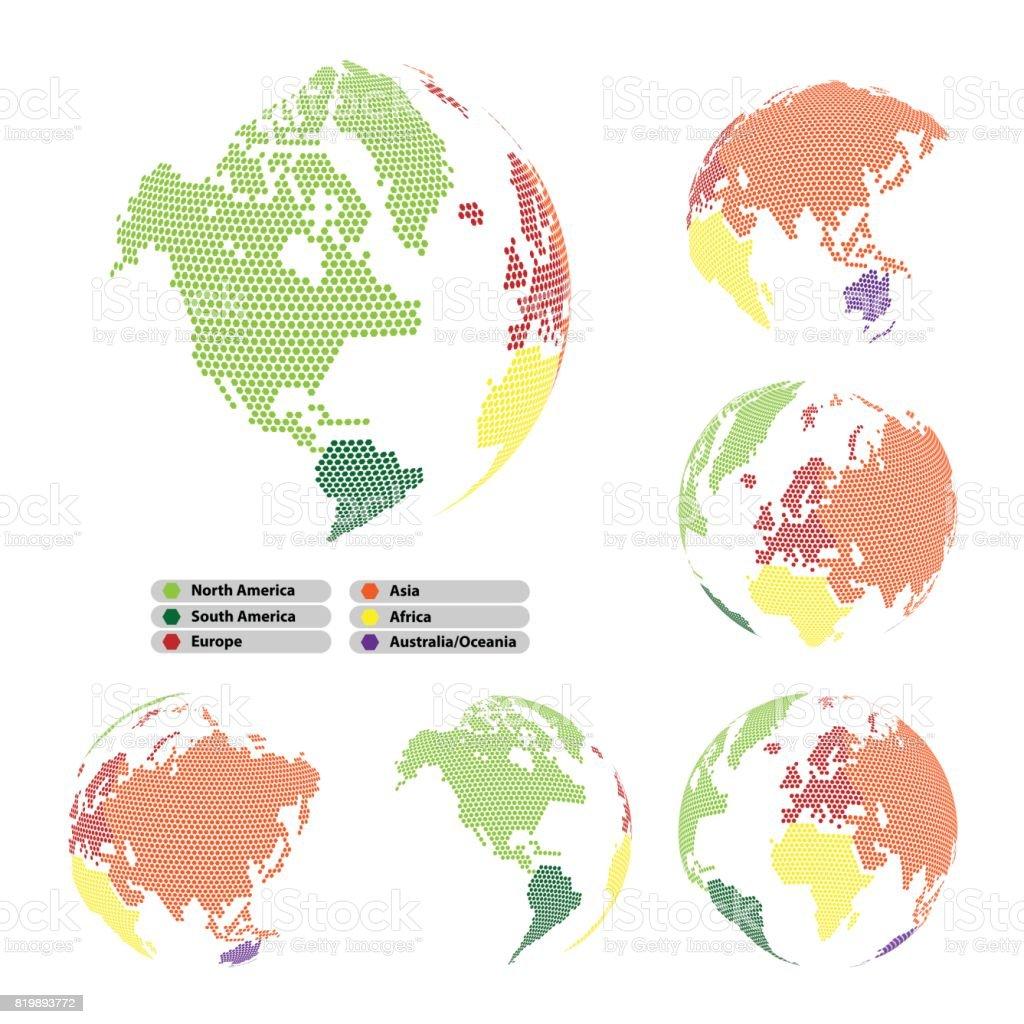 Ilustración de Colorido Mapa Del Mundo De Forma De Hexágono Puntos ...