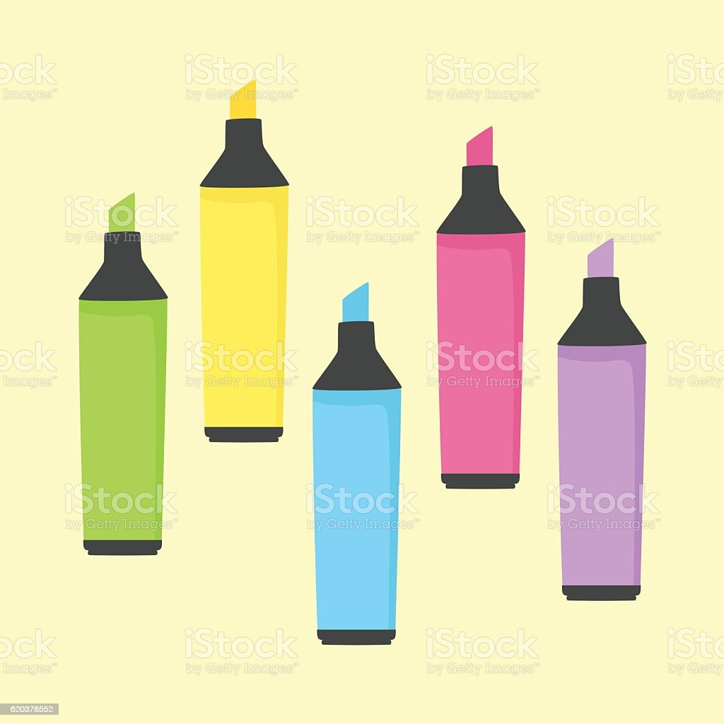 Colorful Highlighter Marker stationery School Office Supplies Vector colorful highlighter marker stationery school office supplies vector - stockowe grafiki wektorowe i więcej obrazów bez ludzi royalty-free