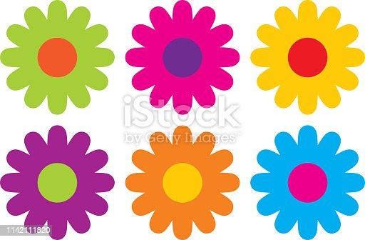 Vector illustration of six colorful hippie flowers