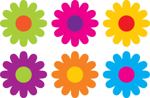 Colorful Hippie Flower Icons Vector illustration of six colorful hippie flowers flower part stock illustrations