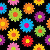 Vector seamless pattern of colorful hippie flowers.