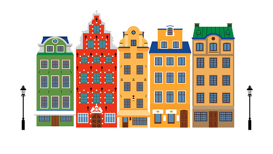 Colorful historic buildings of Amsterdam. Isolated stylish Dutch houses with a flat style. A sample or template for a poster, postcard or souvenir.