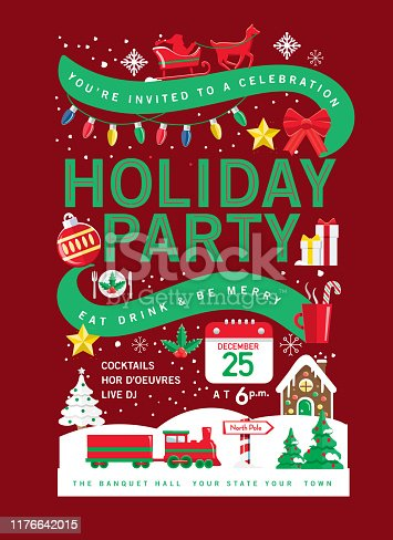Vector illustration of a Colorful Holiday Christmas Party Invitation Design Template with Holiday icons. Includes sample text. Easy to edit with layers. EPS 10.