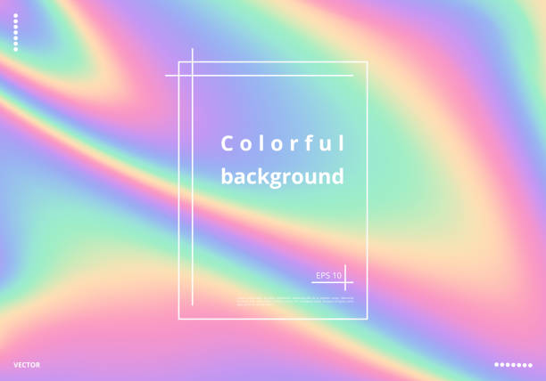 stockillustraties, clipart, cartoons en iconen met kleurrijke holografische achtergrond - regenboog