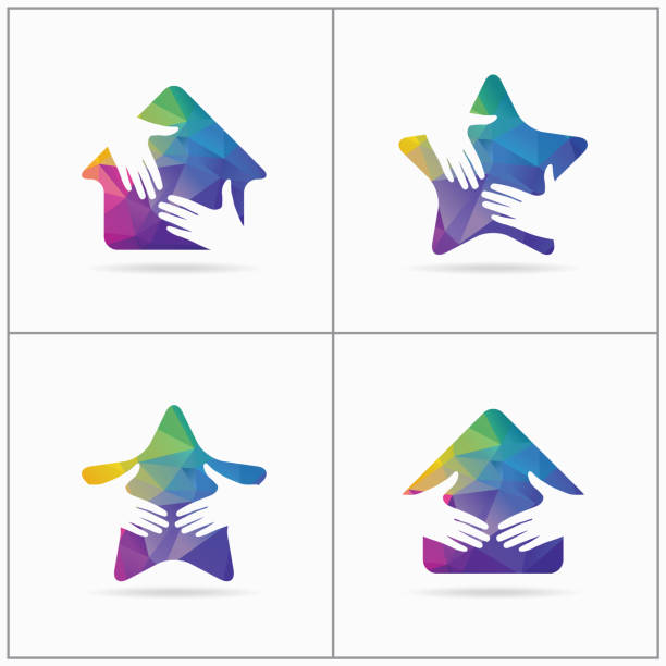 Colorful home with shaking hands vector icon design. Charity, help and support organization vector design. peace vector icon. vector art illustration
