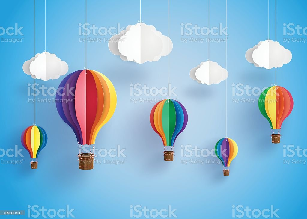 colorful hot air balloon and cloud. vector art illustration
