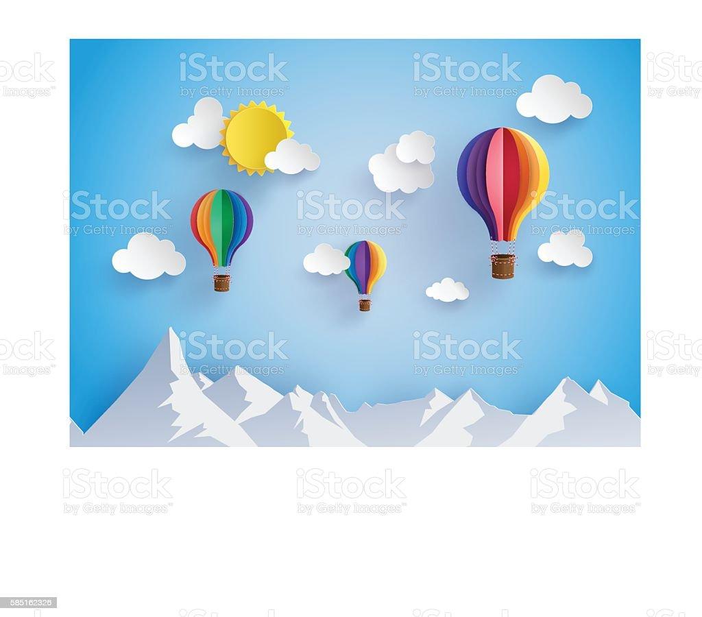 colorful hot air balloon flyin over mountain vector art illustration