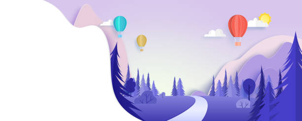 Colorful hot air balloons floating on beautiful nature landscape background paper art style. vector art illustration