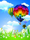 Colorful Hot Air Balloons. Each element in a separate layers. Very easy to edit vector EPS10 file. It has transparency layers with blend effects.