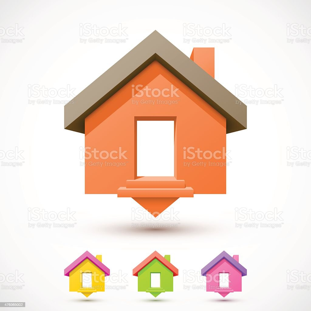 Colorful house pointer vector art illustration