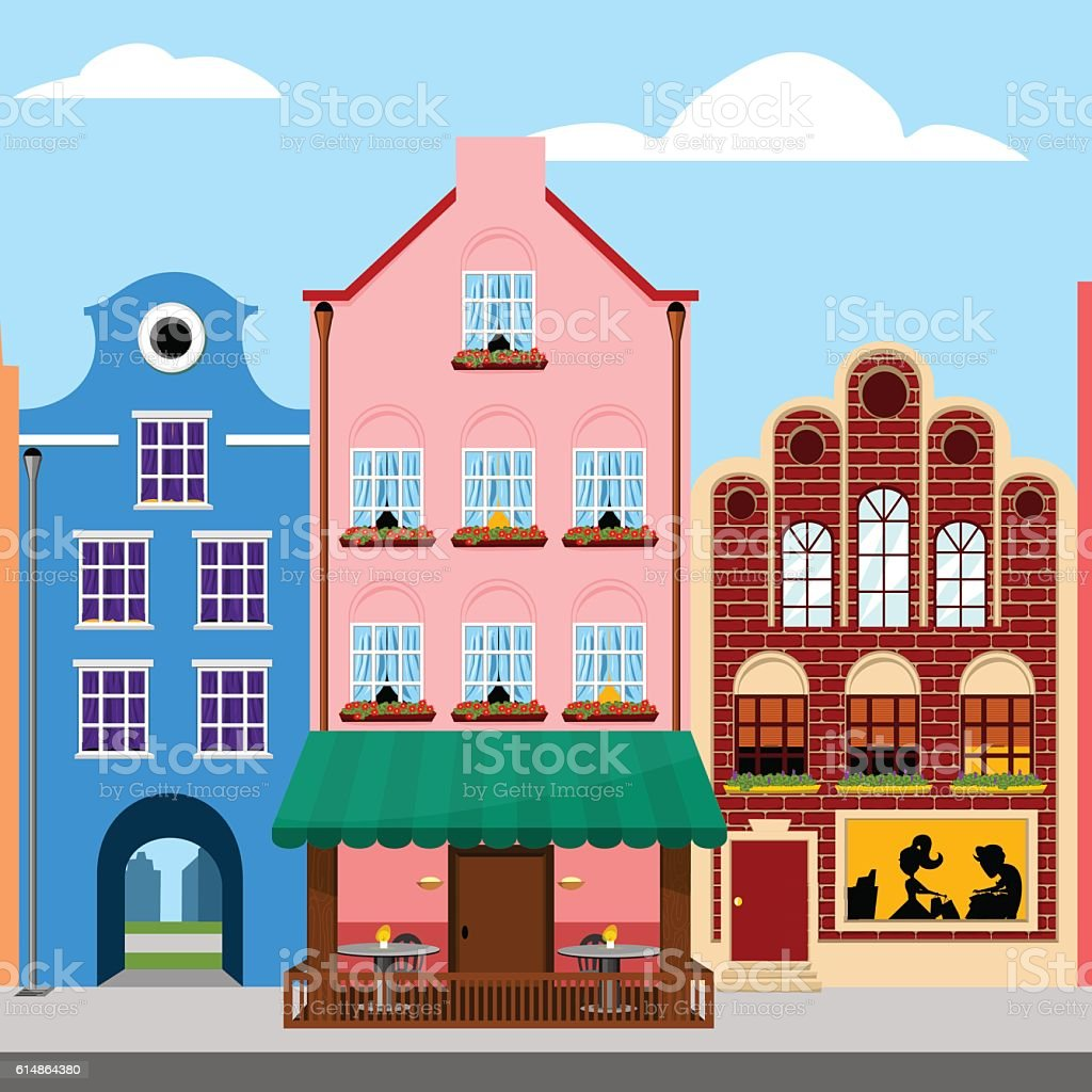 Colorful Houses Europe City Street Vector Illustration Stock Vector ...