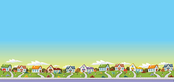 colorful houses in suburb neighborhood - suburbs stock illustrations